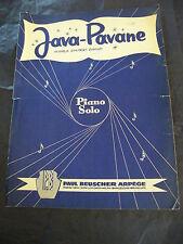 Partition Java Pavane Piano Solo Hubert Giraud Music Sheet 1958