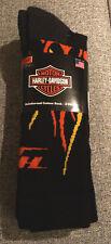 Harley Davidson Merino Wool Blend Riding Sock Mens Size Large 9-13 Flames 2 Pair