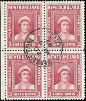 Used After Confedertn Canada Newfoundland 1941-44 Block FVF 3c Scott #255 Stamps