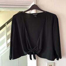 Nina Leonard @ QVC Black Tie Front Shrug Cover Up Size 2XL
