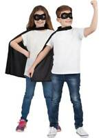 Childrens Super Hero Black Cape & Eyemask Fancy Dress Halloween Book Week Kids