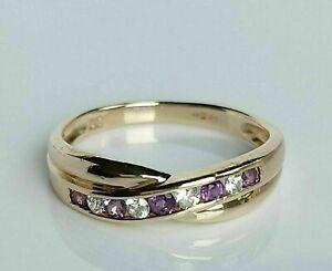 2.50Ct Beautiful Amethyst & Diamond Crossover Wedding Ring 14K Yellow Gold Over