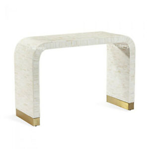 Handmade Bone Inlay Waterfall Bricks Design Fitted Console Table Brass