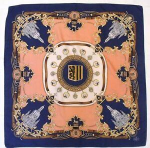 "Classic ARCHITECTURE Baroque Church HERALDIC Blue Pink Twill Silk 32"" Scarf"