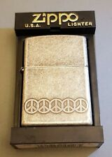 ZIPPO LIGHTER - ANTIQUE SILVER PLATE - BANDED PEACE SYMBOL