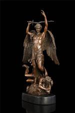 15.6'' West Myth Art Sculpture Angel Bronze Copper Statue Marble Base