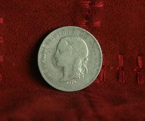 1874 2 Decimo Colombia Silver World Coin KM160 Medellin Liberty RARE Low Mintage