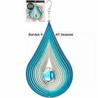 "12""/30cm ORBIT RAINDROP Stainless Steel Wind Spinner Sun Catcher Hook Garden"