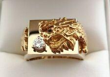 18k Yellow Gold 0.20ct Diamond Dragon Men's Ring 20.2g Size 9.25