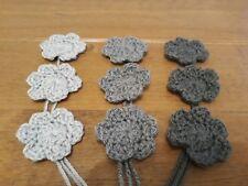 Handmade 4cm Crochet Grey Flowers  Card Making Scrapbook Embellishment