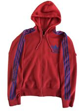 RETRO ADIDAS HOODED TRACKSUIT TOP SIZE LARGE WHITE