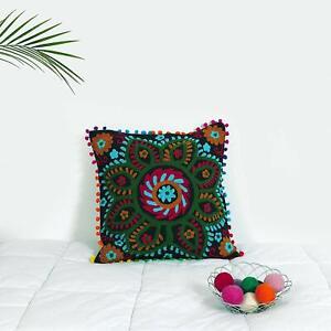 Suzani MultiColor Cushion Cover Home  Decor Throw Embroidered Pillow Case 16x16