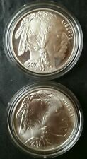 2001 P Proof and D Uncirculated $1 American Buffalo Commemorative Silver Dollars