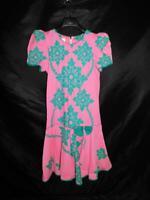Vintage 80s Malumi S Pink Green Hawaiian Dress Short Poof Sleeve Side Bow Cotton