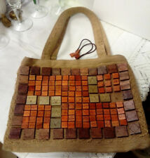 VINTAGE ALMA TONUTTI MADE IN ITALY MATERIAL GRAB BAG, WOODEN BUTTON DECORATION