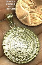 GOLD Aztec pendant Azteca 10k yellow Calendar SOLID REAL DIAMOND CUT 1.15""