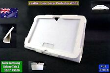 NEW White PU Leather Case Screen Protector Stand - Suits Samsung Galaxy P5100