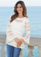 Lace trimmed Cotton, flared sleeve layering Jumper Size XL