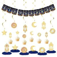 Ramadan Eid Mubarak Decorations Banner Swirls Table Hanging Wall Balloons