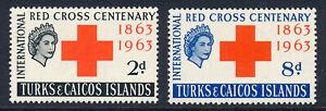 TURKS & CAICOS ISLANDS 1963 RED CROSS CENTENARY SG255/256 BLOCKS OF 4 MNH