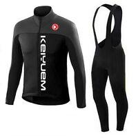 Long Sleeve Cycling Jersey Bib Pants Winter Bib Tights Kit Black Unisex S-5XL