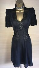 Exquisite Karen Millen Black Silk Lace Victoriana Dress Uk10 Stunning