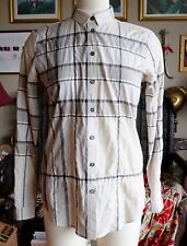 Burberry Brit womens plaid blouse shirt top dress trench coat, sz S,logo buttons