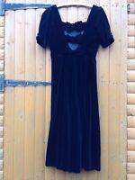 Vintage Laura Ashley Black Velvet Backless Bow Back Mistress Edwardian  Dress 14