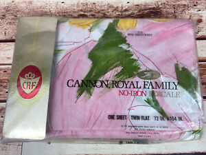 New Vtg Cannon Royal Family Percale Twin Flat Bed Sheet Carousel Floral Pink