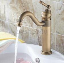 Antique Brass Swivel Spout Bathroom Sink Vessel faucet Basin Mixer Tap Unf204