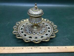 Antique Solid Brass Heavy Ornate Ink Well