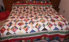 """Stained Glass Window Christmas Queen King Hand Made Crazy Quilt 104"""" x 112"""""""