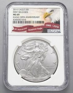 2016 Silver Eagle 30th Anniversary NGC MS69