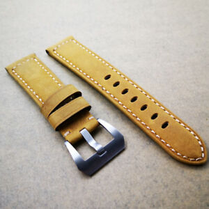 22mm Yellow Calf Leather PAM Band 20mm SIlver Steel Screw Buckle for PAM Watch