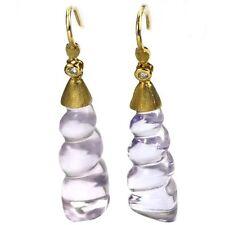 De Buman 23.65ctw Genuine Amethyst & Diamond Solid 18KY Gold Earrings
