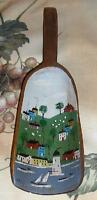 FOLK ART DISTRESSED PRIMITIVE HOUSE SHEEP BOAT VILLAGE WOOD PAINTING FLOUR SCOOP