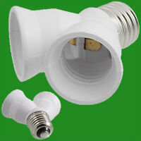 2x E27 to 2x E27 White2 Into 1 Light Bulb Lamp Socket Fitting Adaptor Splitter