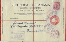 1939 Registered Stamped Card from Colon, Panama to Los Angeles, CA, USA