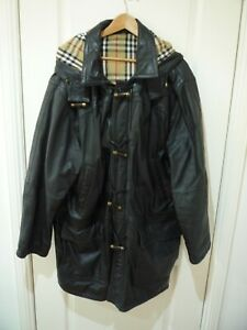 Burberry Hooded Leather Duffle Coat Size XXL