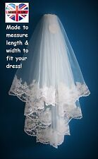 Wedding Veil *Fingertip Length*2 Tier*Wide Lace* Ivory*Made to Order*