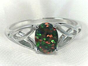 💎 Ring FEUER OPAL SCHWARZ 925 Sterling SILBER RING Gr.19 Cabochon oval selten