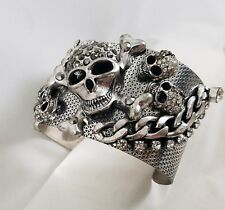 SKULL & CROSSBONES Jeweled Bracelet Gothic Fashion Jewelry Halloween + Fun