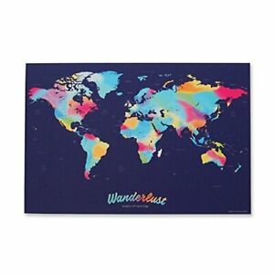 WANDERLUST MAPS SCRATCH OFF WORLD MAP TRAVEL DOCUMENTATION - MULTICOLOR