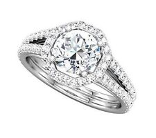 2.21 ct total Round Diamond Halo Engagement 14k WhiteGold Solitaire Ring G color