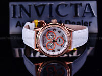 Invicta Women White Angel Swiss Chrono White MOP 18KRG IP Leather Strap Watch