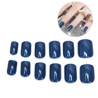 24PCS Pure color French False Nails Art Acrylic Full Cover Tips Manicure Glue AF