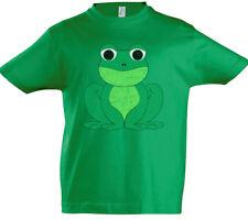 Frog I Boys T-Shirt Toon Cartoon Comic Look Green Frogs