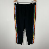 Monki Womens Pants Large Black Rainbow Striped Elastic Waist Straight