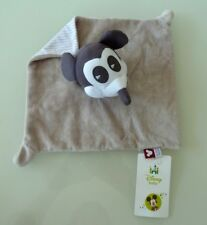 B9- DOUDOU PLAT DISNEY MICKEY MOUSE BABY PANDA BVBA GRIS BLANC CARRE 24X24  NEUF