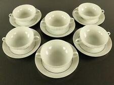 6 Suppen Tassen auf Teller Thomas Porzellan Service Lanzette Platinband